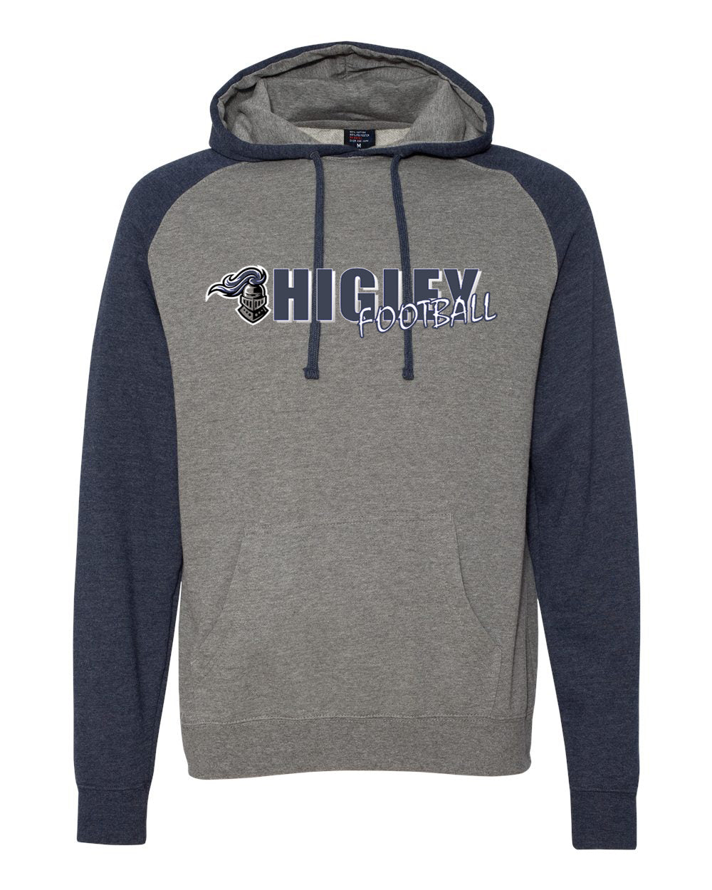 higley knights mens hoodie with player name on sleeve