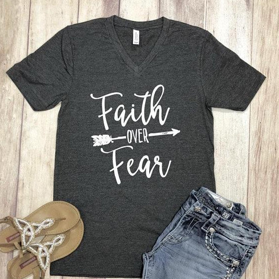 faith over fear vneck tee