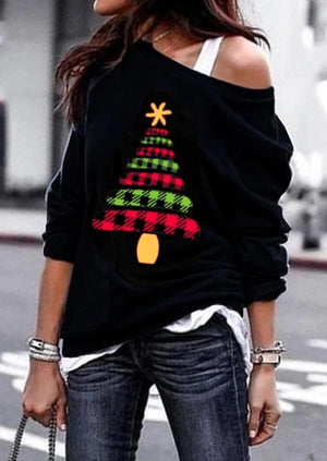 buffalo plaid xmas tree crewneck