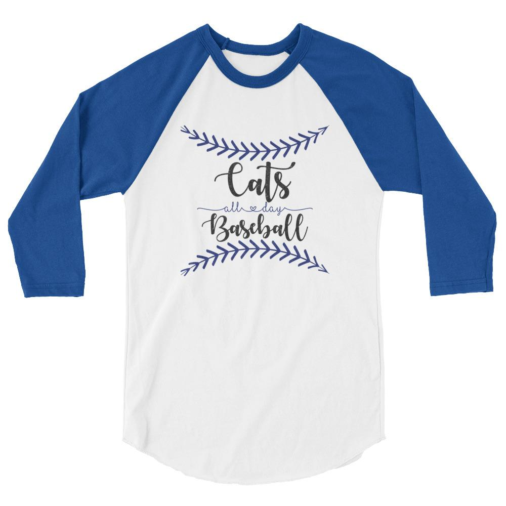 cats all day baseball raglan tee