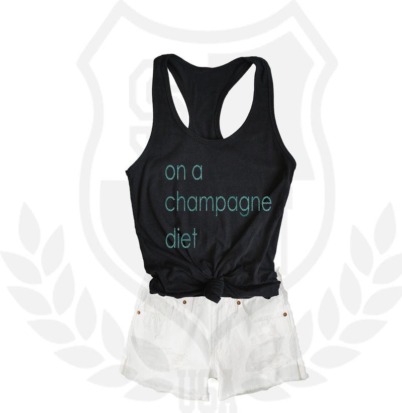 on a champagne diet racerback tank