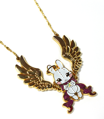Golden Angel Bunny Necklace
