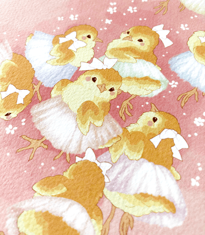 Ballerina Chicks Textured Print