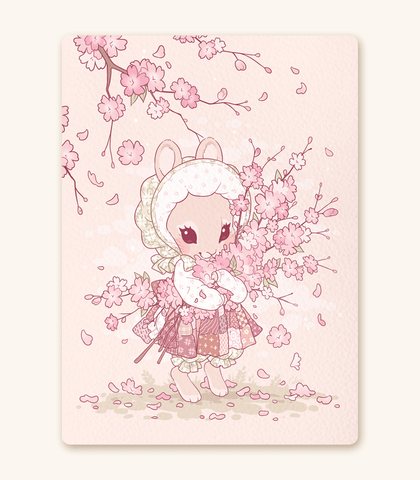 Bundle of Blossoms Bunny textured print