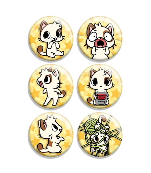 Glitch Cat Button Set