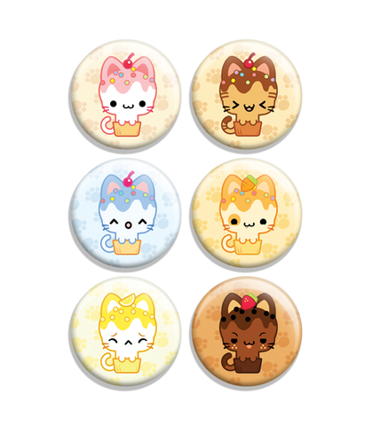 Cupcake Kitties Flavors Button Set 1
