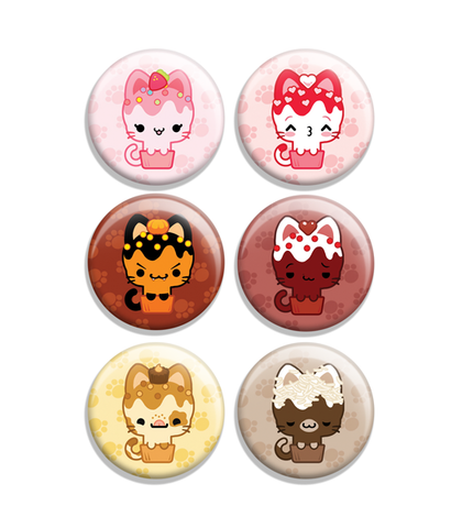 Cupcake Kitties Flavors Button Set 2