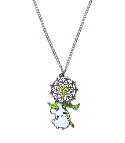 Dandelion Puddle Bunny Necklace