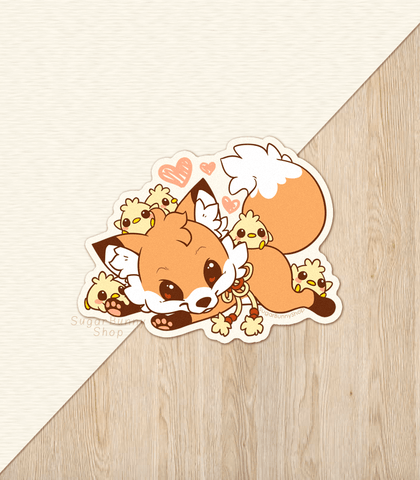 Doki Fox and Chicks Vinyl Sticker