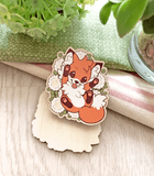 Doki Fox Flowers Wood Pin