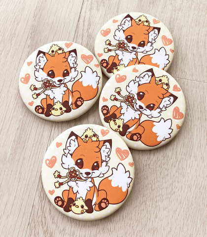 Doki Fox pinback button