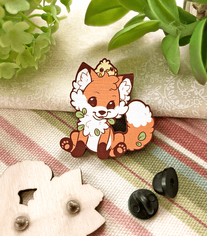 Doki Fox Smirk Wood Pin