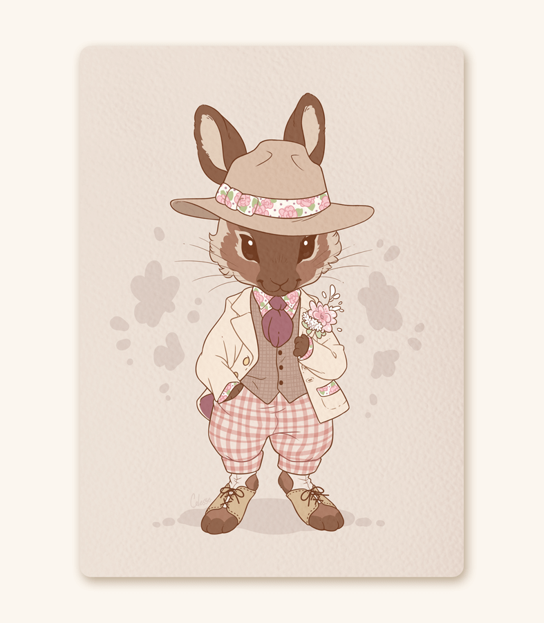 Floral Fella Rabbit Braeburn textured print