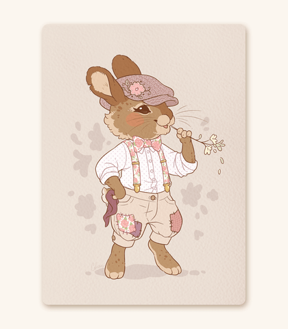 Floral Fella Rabbit Buckwheat textured print