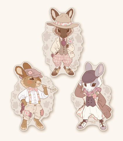 Floral Fella Bunnies Vinyl Stickers