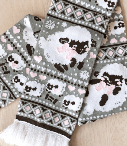 Fuwafuwa Sheep Knit Scarf