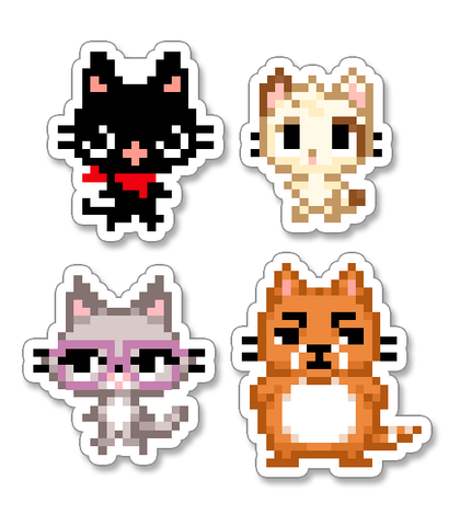 Oversized Pixel Gamercats Vinyl Stickers