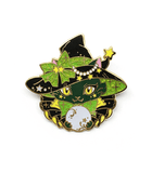 Green witch cat enamel pin