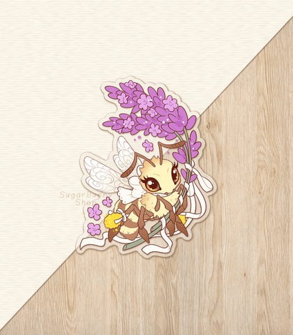 Lavender Honey Bee Vinyl Sticker