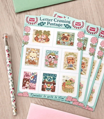 Letter Crossing Postage Sticker Sheet