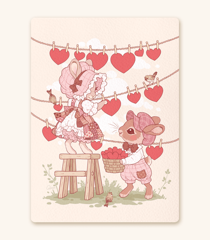 Love on the Line Bunnies Textured Print