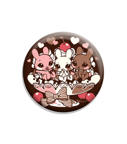 "Neapolitan Split Soft-Touch Matte 2.25"" Button"