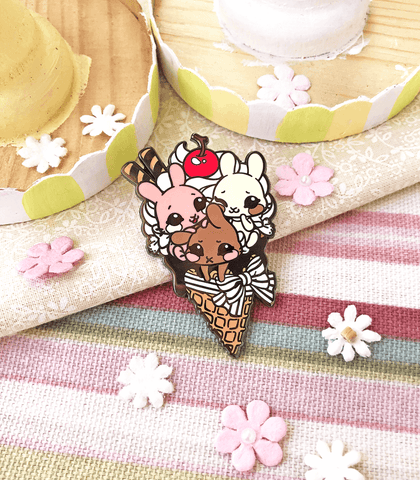 Neapolitan Ice Cream Cone Enamel Pin