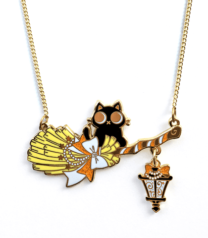 Orange Broom Rider Cat Necklace