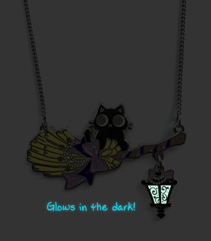 Purple Broom Rider Cat Necklace