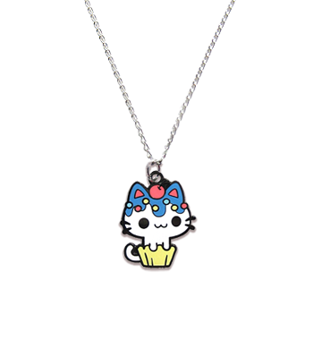Blueberry Cupcake Kitty Necklace
