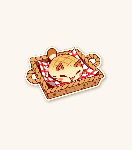 Nyanpan Cat Basket Vinyl Sticker