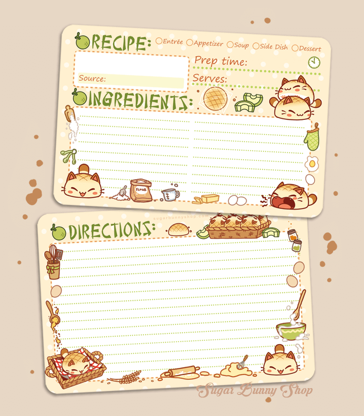 Nyanpan Cat Recipe Cards
