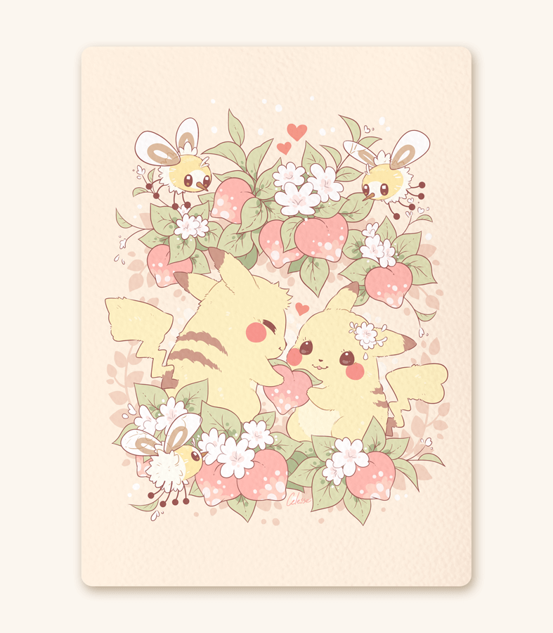 Pikachu Pecha Berry for You Textured Print