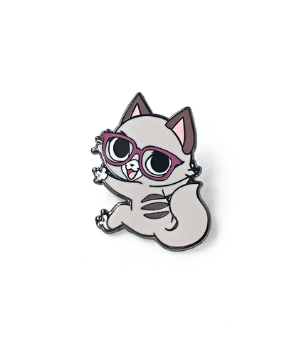 Pixel Cat Clinging Enamel Pin