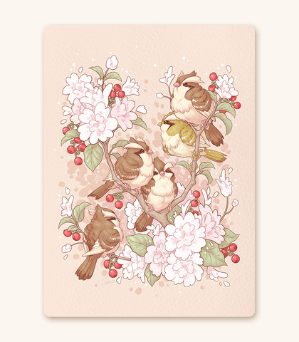 Pidgey in a Cheri Tree Textured Print
