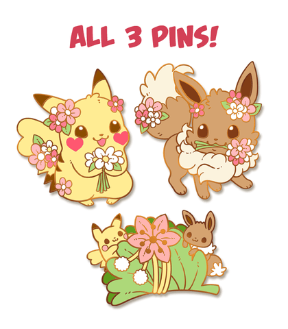 Pokemon Floral Pikachu & Eevee Enamel Pin Set