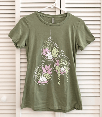 Puddle Bunny Plant Terrarium Ladies Shirt