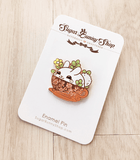 Puddle Bunny teacup enamel pin