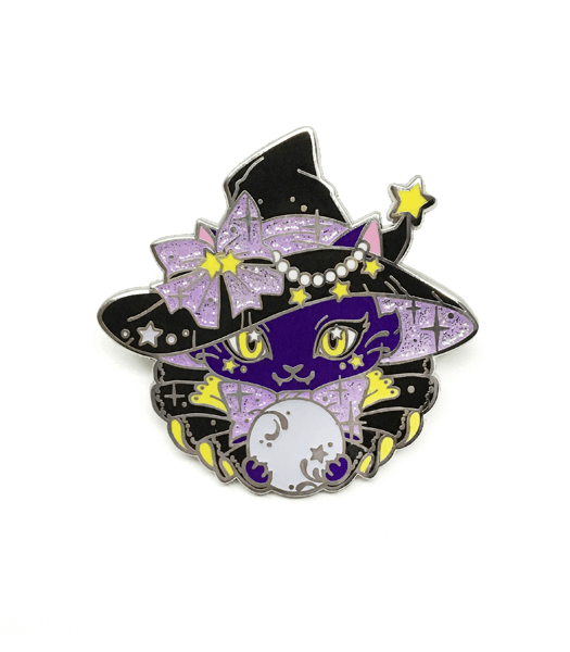 Purple witch cat enamel pin