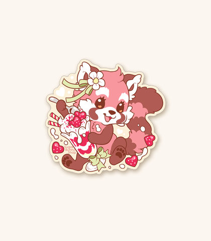 Red Panda Ponwan Parfait Vinyl Sticker