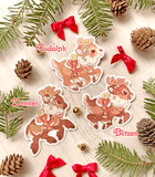 Santa's Reindeer Vinyl Stickers - Rudolph, Donner and Blitzen