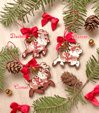 Santa's Reindeer Wood Ornament Garland - Dasher, Dancer, Comet
