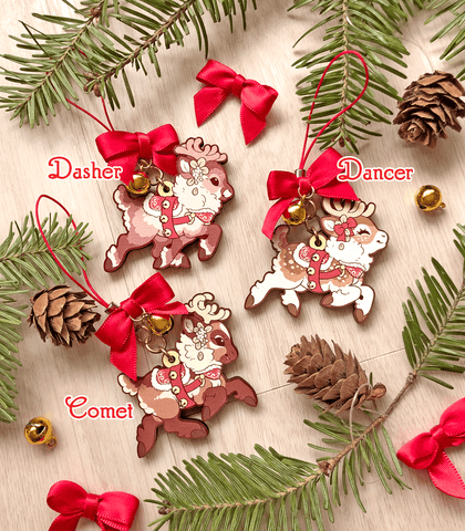 Santa's Reindeer Wood Ornaments