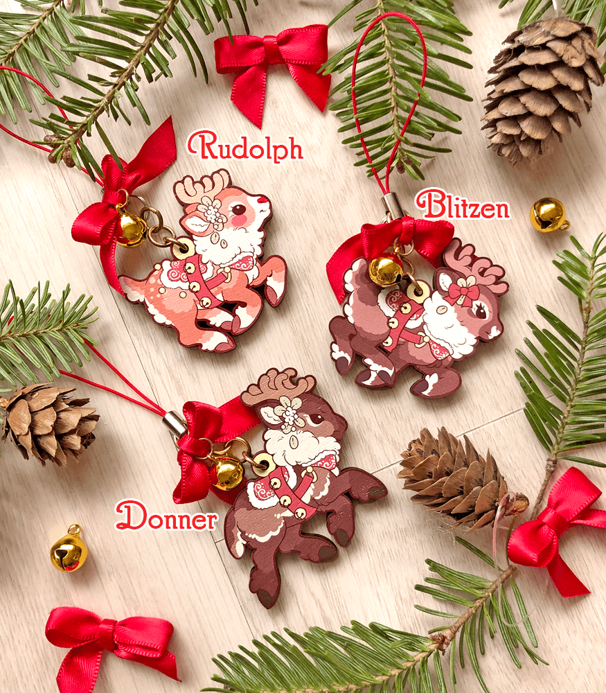 Santa's Reindeer Wood Ornaments - Rudolph, Donner and Blitzen