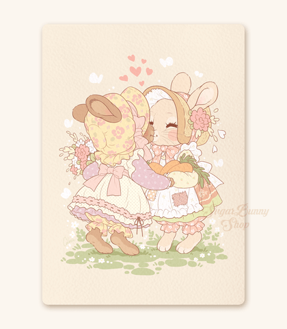 The Softest Smooch Bunnies Textured Print