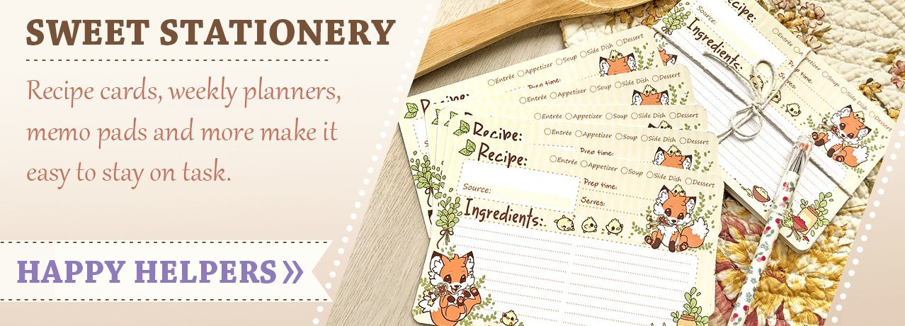 Recipe cards, weekly planners, memo pads and more!
