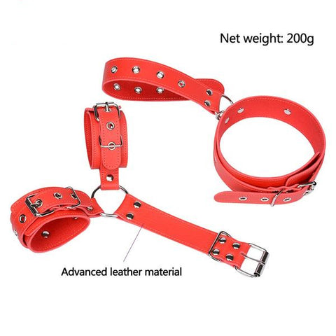 Image of Leather Handcuff And Neck Collar Bondage Fetish Restraints
