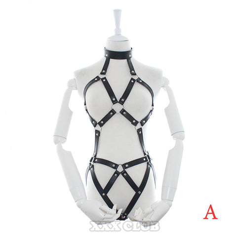 PU Leather Body Harness Slave Bondage Restraints