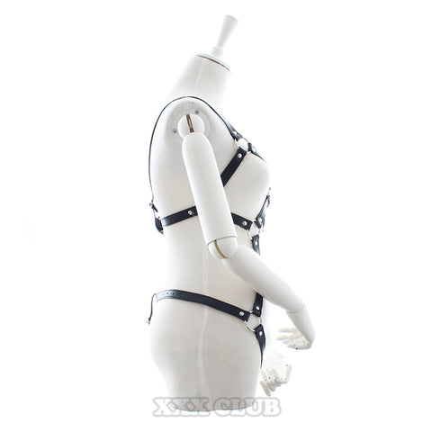 Image of PU Leather Body Harness Slave Bondage Restraints
