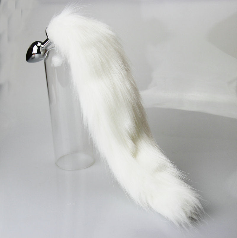 Cat Tail Butt Plug With Stainless Steel Tip For Slave Role Play